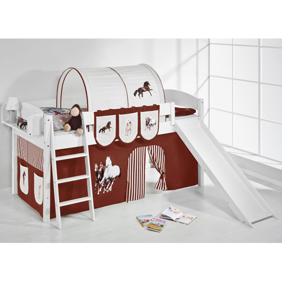 Lilla Slide Children Bed In White With Horses Brown Curtains_1