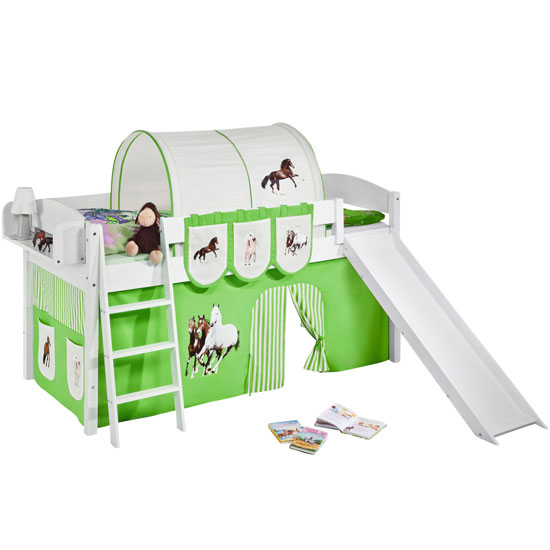 Lilla Slide Children Bed In White With Horses Green Curtains_2