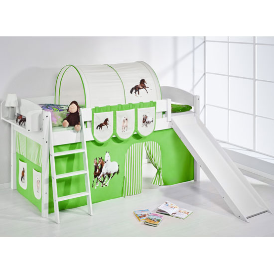 Lilla Slide Children Bed In White With Horses Green Curtains_1