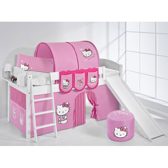 Lilla Slide Children Bed In White With Kitty Pink Curtains