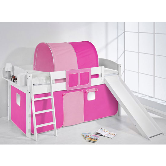 Lilla Slide Children Bed In White With Pink Curtains