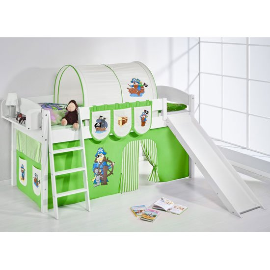 Lilla Slide Children Bed In White With Pirate Green Curtains