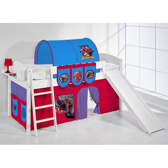 Lilla Slide Children Bed In White With Spiderman Curtains