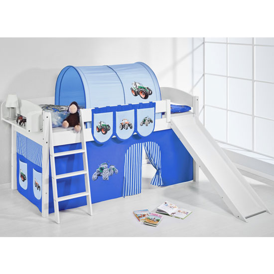 Lilla Slide Children Bed In White With Tractor Blue Curtains