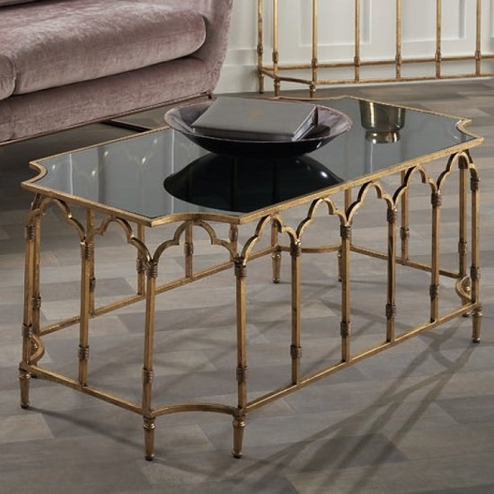 Lille Glass Coffee Table In Black Smoked With Gold Leaf Frame