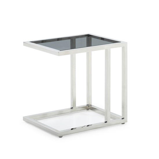 Lille Tinted Glass Top End Table With Stainless Steel Base_1