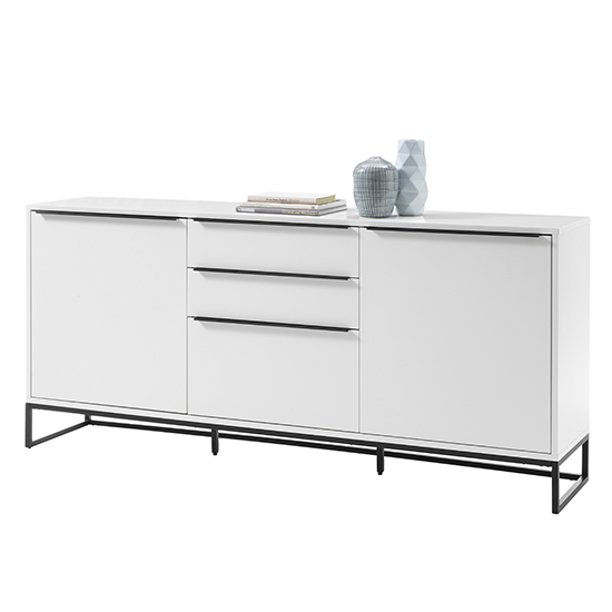 Lille Wooden Sideboard In Matt White With 2 Doors 3 Drawers
