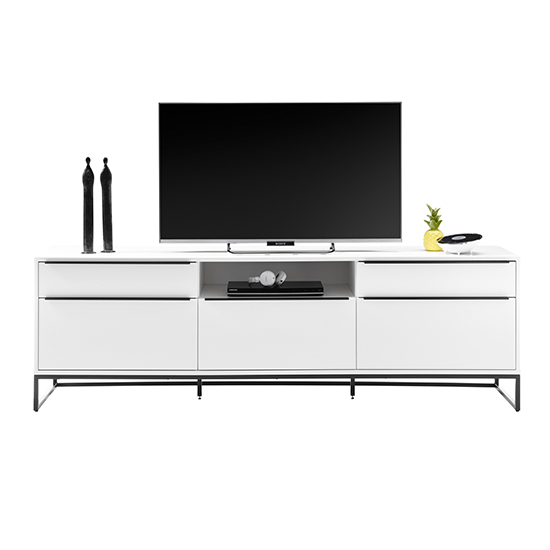 Lille Wooden TV Stand In Matt White With 5 Drawers_2