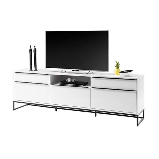 Lille Wooden TV Stand In Matt White With 5 Drawers_1