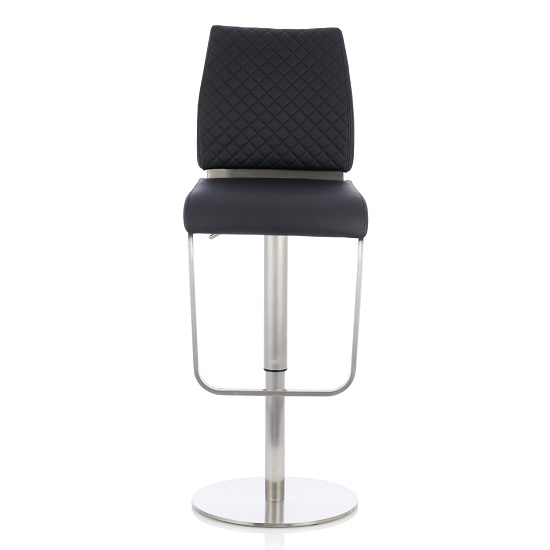 Lillian Bar Stool In Black Faux Leather And Stainless Steel Base