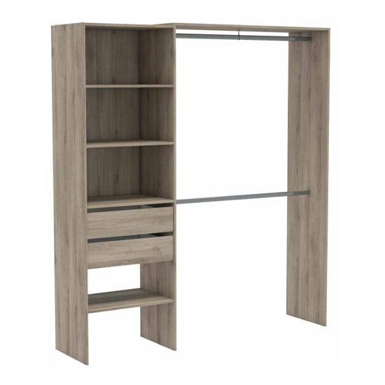 Limano 3 Shelves 2 Drawers Closet Organizer In Kronberg Oak