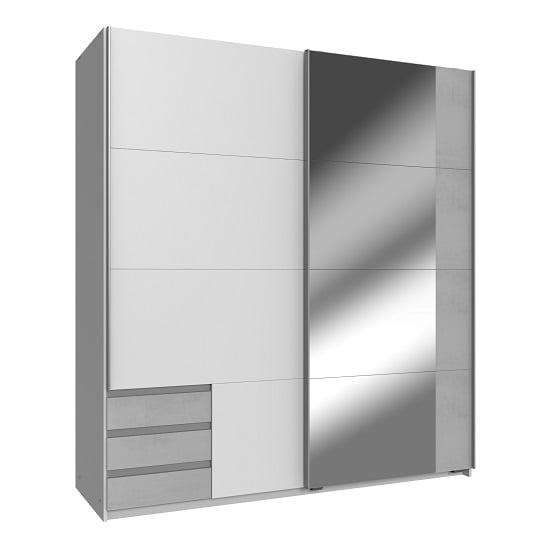 View Limoni sliding mirrored wardrobe in white and concrete effect