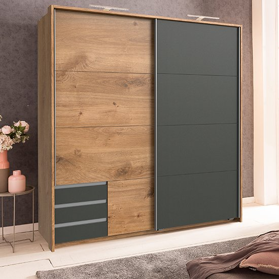 Product photograph showing Limoni Sliding Wooden Wardrobe In Planked Oak And Graphite
