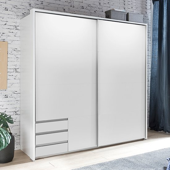 Limoni Sliding Wooden Wardrobe In White With 2 Doors