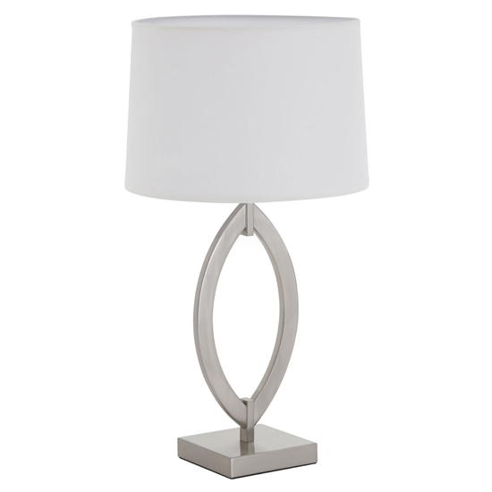Linato White Fabric Shade Table Lamp With Satin Nickel Base