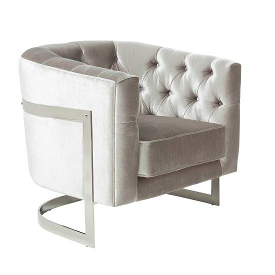Lincoln Accent Chair In Grey Velvet And Polished Steel Frame_1