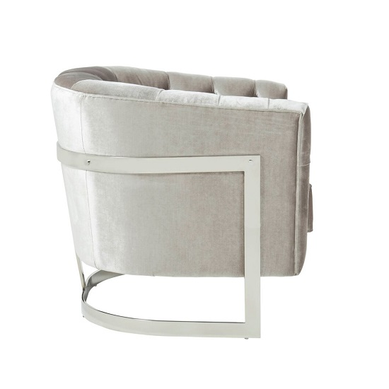 Lincoln Accent Chair In Grey Velvet And Polished Steel Frame_3