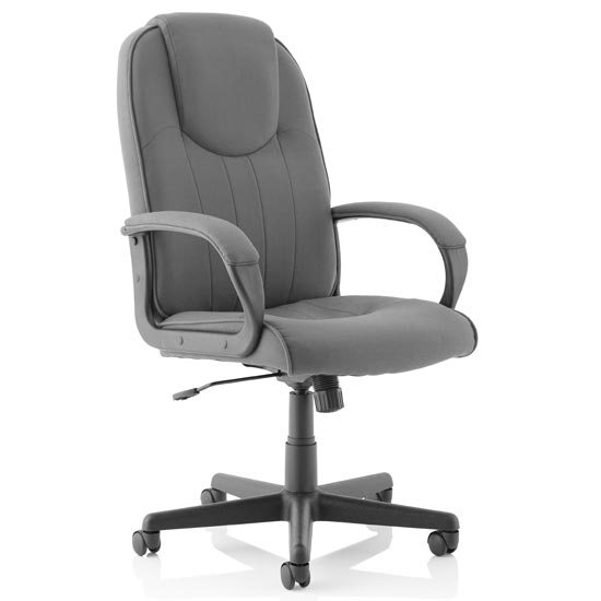 Lincoln Fabric Executive Office Chair In Charcoal With Arms