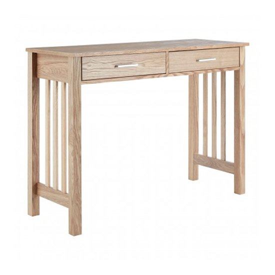 Lincolno Wooden 2 Drawers Console Table In Ash
