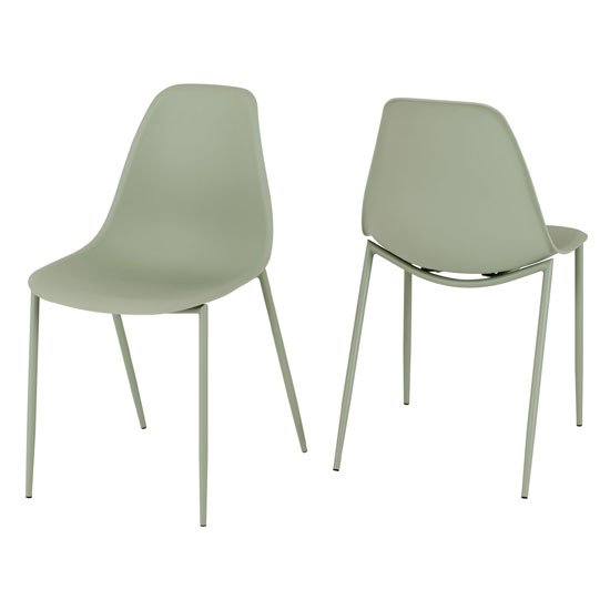 Lindon Green Plastic Dining Chairs With Metal Legs In Pair