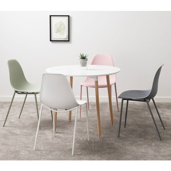 Lindon White Plastic Dining Chairs With Metal Legs In Pair_2