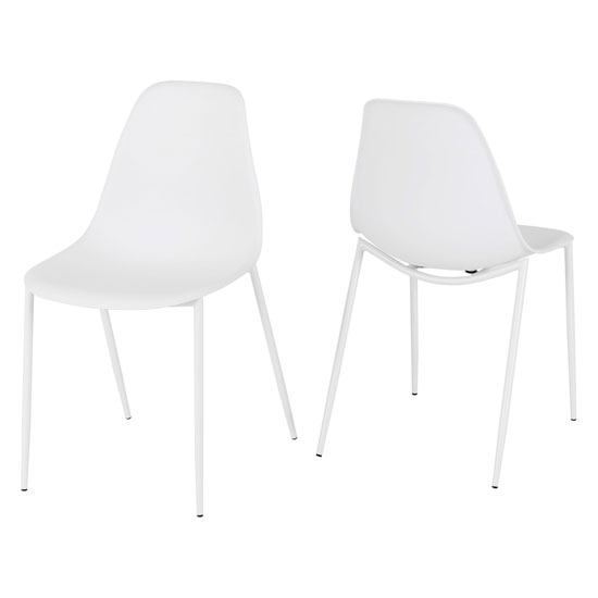 Lindon White Plastic Dining Chairs In A Pair With Metal Legs