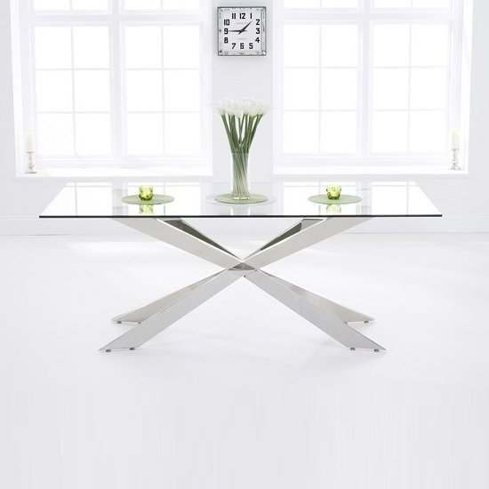 Lindos Large Glass Dining Table With Stainless Steel Base
