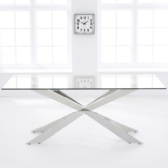 Lindos Large Glass Dining Table With Stainless Steel Base_2