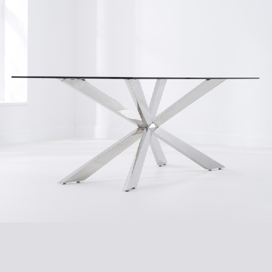 Lindos Glass Dining Table In Clear With Stainless Steel Base_2