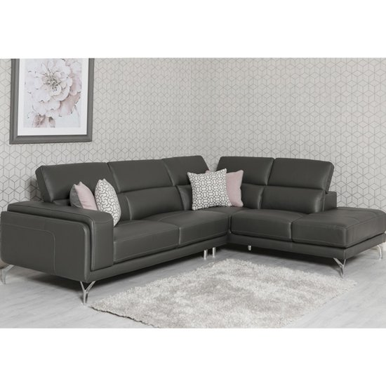 Linea Faux Leather Corner Sofa Bed In Grey Furniture In Fashion