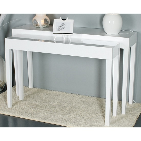 Linea Set of 2 Console Table In High Polished White
