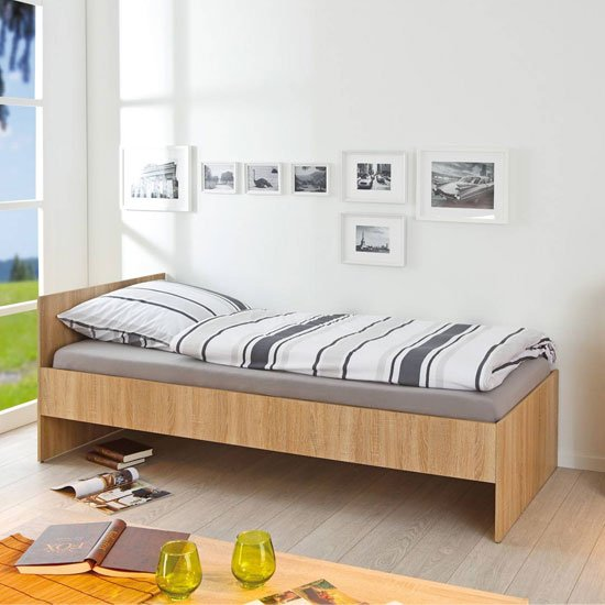 Lini Wooden Single Bed In Sonoma Oak