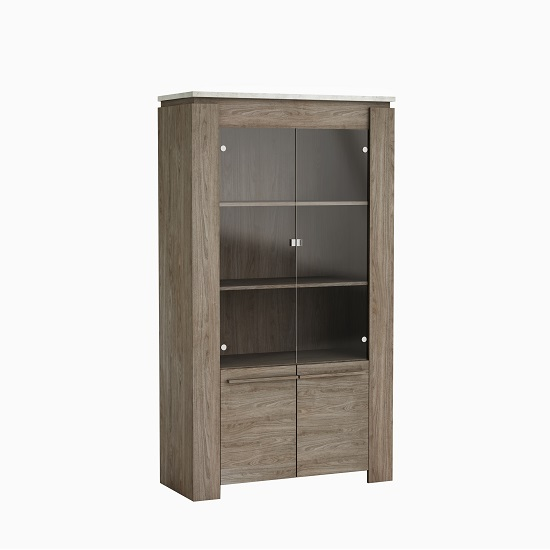 Linosa Glass Display Cabinet In Light Concrete Effect And Walnut