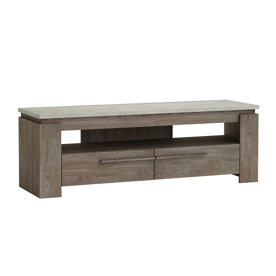 Linosa Wooden TV Stand In Light Concrete Effect Top And Walnut