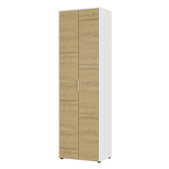 Linz Wardrobe In White And Grandson Oak With 2 Doors