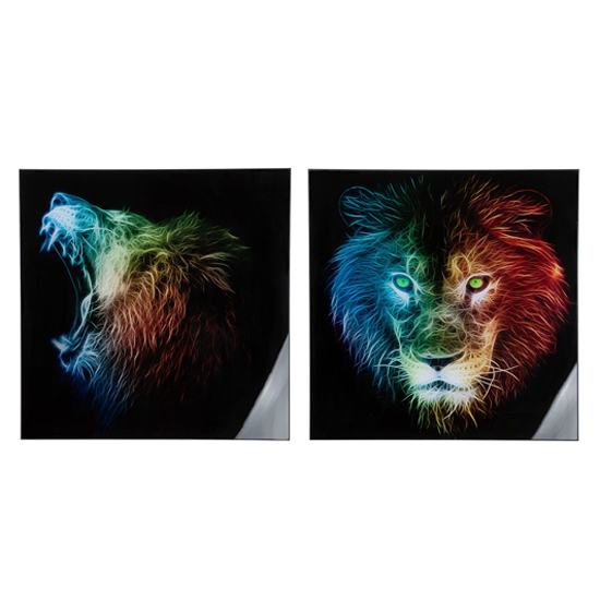 Lion Picture Set Of 2 Acrylic Wall Art In Multicolor And Black