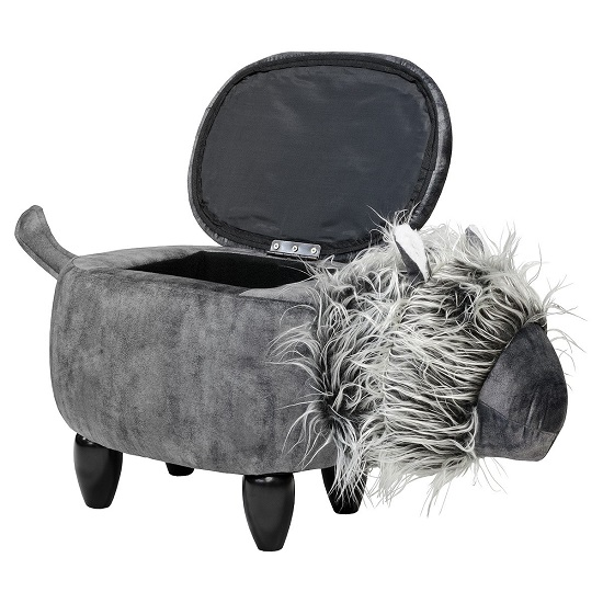 Lion Shaped Ottoman Storage Seat In Grey_1