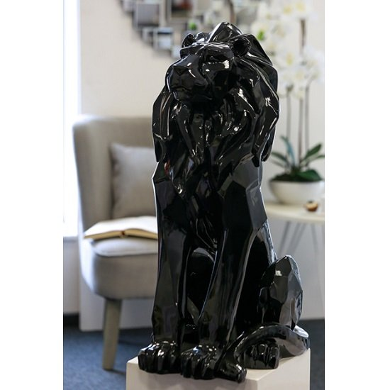 Read more about Lion modern sculpture in shiny black
