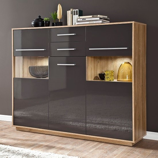 Liona Highboard In Glossy Grey And Rustic Oak With LED
