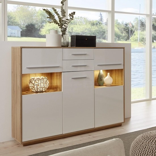 Liona Highboard In Glossy White And Rustic Oak With LED