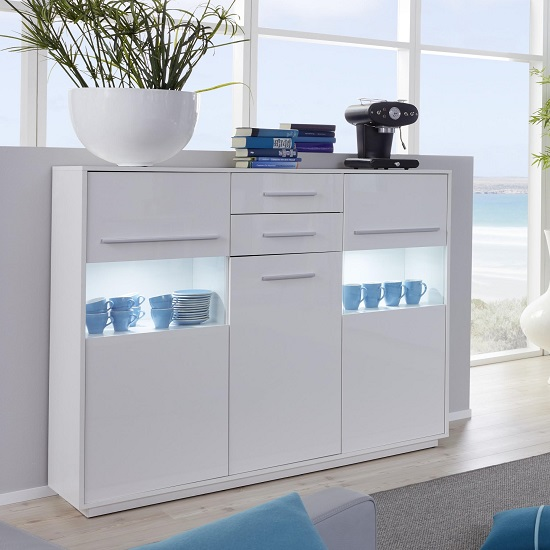 Liona Modern Highboard In White With Gloss Fronts And LED