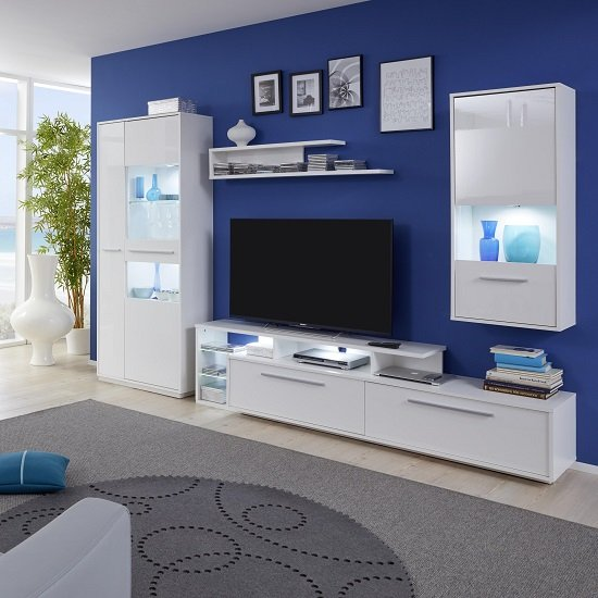 Liona Living Room Set 1 In White With Gloss Fronts And LED