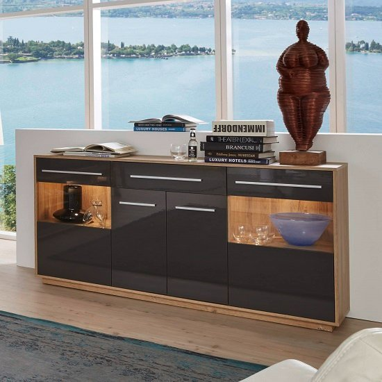 Liona Modern Sideboard In Glossy Grey And Rustic Oak With LED