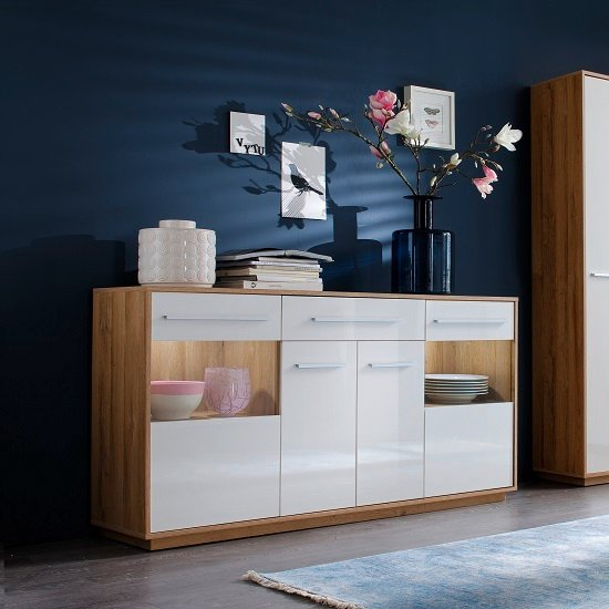Liona Modern Sideboard In Glossy White And Rustic Oak With LED