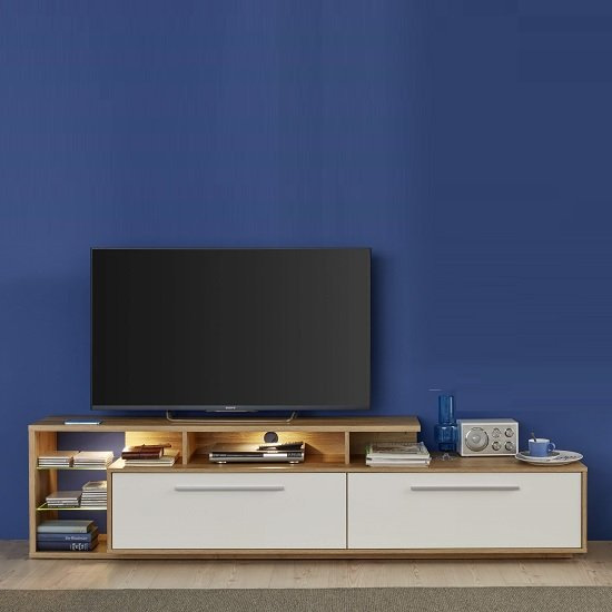 Liona TV Stand In Glossy White And Rustic Oak With LED