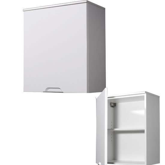 liquid white bathroom wall cabinet with high gloss white front