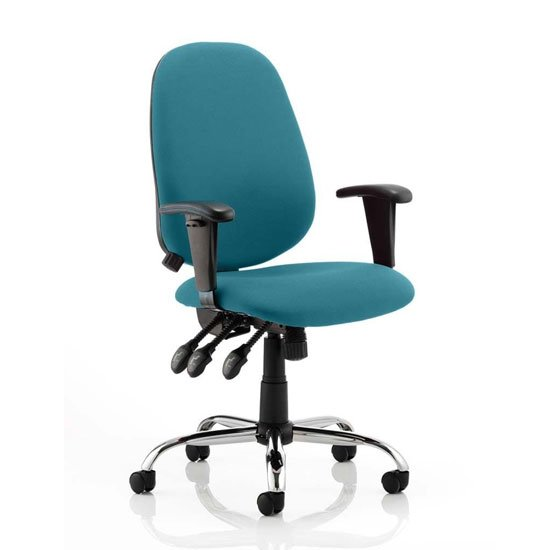 Lisbon Office Chair In Maringa Teal With Arms