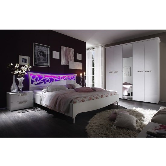 Lisbon Bedside Cabinet In White With High Gloss Fronts_6