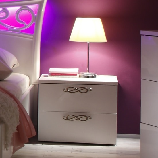 Lisbon Bedside Cabinet In White With High Gloss Fronts_4