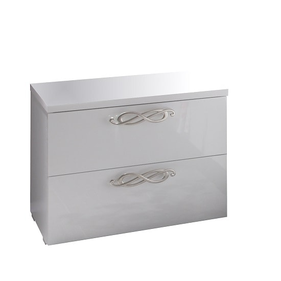Lisbon Bedside Cabinet In White With High Gloss Fronts_2